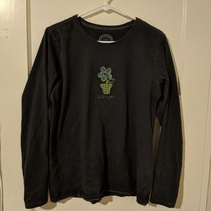 Life is Good Size L Black Long Sleeve Flower Shirt